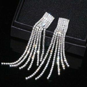 Swarovski Elements Long Tassel Earrings NWT
